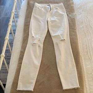 J Brand Ripped White Skinny Jeans Size 26